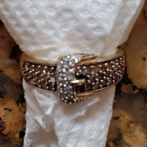 14k gold over S/S chocolate & white diamond ring